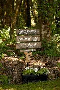 CAMPING SWIMMIN Hole S'MORES Rustic Distressed Wood Wedding, Party, Game Day, Camp Out ... Sign on Etsy, $15.00