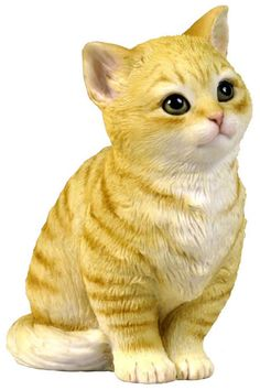 Cast in a special polystone compound, this adorable figurine makes a delightful addition to any cat lovers' collection or decor. Orange And White Cat, Cat Statue, Cat Playground, Ceramic Animals, Cat Sitting, Cat Art, Pet Birds, Animals And Pets, Cats And Kittens
