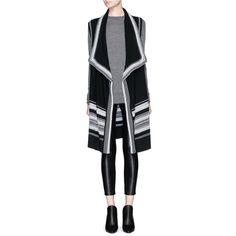 Vince Textured stitch drape front cotton sleeveless cardigan ($395) ❤ liked on Polyvore featuring tops, cardigans, black, draped open front cardigan, black sleeveless cardigan, draped cardigan, black waterfall cardigan and cotton cardigan