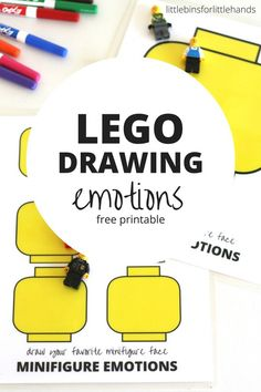 LEGO minifigure drawing emotions prompts free printable pages. Draw LEGO faces for fun or to learn about emotions. Great LEGO activity for kids and perfect for quiet time or travel!