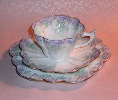 Shelley/Wileman Dew Drop Shaped Mint and Lavender Teacup, Saucer and Plate.   $225.00 on Etsy.