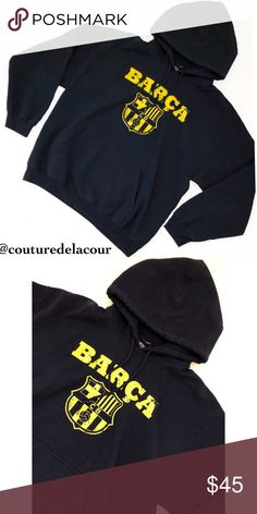 Barça Navy Blue Men's Hoodie Gently used. Color is dark navy blue although in the pictures it looks black. Drawstrings in the hood and one large pocket in the front. FC Barcelona Jackets & Coats