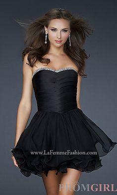 Short Strapless Black Cocktail Dress by La Femme at PromGirl.com