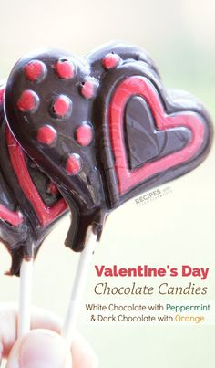 Easy dessert recipe for Valentine's Day Chocolate Candy (Dark with Orange & White with Peppermint) from RecipeswithEssentialOils.com