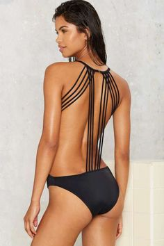 Nasty Gal Ties That Bond Strappy Swimsuit