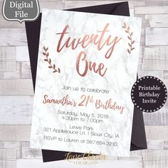 Excited to share this item from my shop: Marble & Rose Gold Birthday Invitation - Unique Birthday Announcement - Marble Birthday Party Invite - Cute Girly Teen Invites - - - 21st Party, Gold Birthday Party, 14th Birthday, Grad Parties, Birthday Cakes, Birthday Parties, Birthday Gifts, 21st Bday Ideas, 21st Birthday Decorations