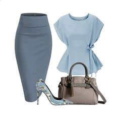 includes a round neck tie waist top and office pencil skirt. A Rosetti Cassidy satchel and a Greymer leather pumps completes a classy look. Images are not ours and may be subject to copyright. Share on: WhatsApp Classy Chic, Classy Dress, Classy Outfits, Chic Outfits, Fashion Outfits, Womens Fashion, Fashion Trends, Fashion Ideas, Fall Outfits