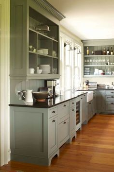 27 Awesome Kitchen Farmhouse Decorating Ideas - Page 6 of 29 Cottage Kitchen Cabinets, Refacing Kitchen Cabinets, Kitchen Cabinet Colors, Cabinet Decor, Cabinet Makeover, Cabinet Ideas, Cabinet Refacing, Gray Cabinets, Wall Cabinets