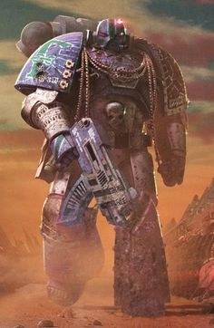 Warhammer 40k Artwork: Space Marine, perhaps Ultra Marine by the colours...Or Alpha Legion as suggested by another Pinner :)