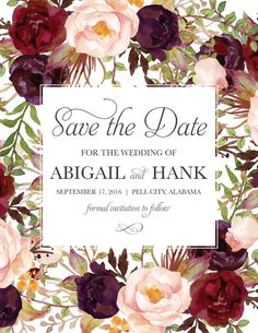 Save the Date Postcard Rustic Floral Blush Red by BettyLuPaperie