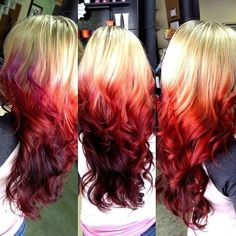 ombre hair color brown to red | Fire red ombre dipped on blonde hair with a hint on purple on the top.