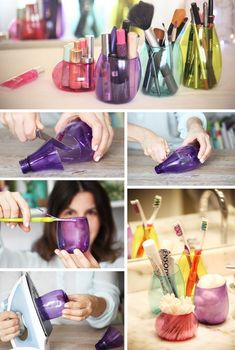 Recycled plastic bottles makeup organizer. Something as simple as some plastic bottles can be repurposed as an incredible makeup storage solution. Cut them up in the good size. Use them as the organizer of makeup brushes, nail polishes and etc.