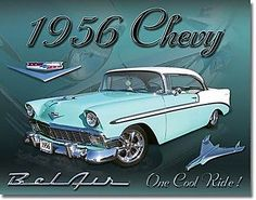 "Chevrolet #belair ""1956 #chevy"" #metal sign  410mm x 320mm  (de blue-green),  View more on the LINK: 	http://www.zeppy.io/product/gb/2/141871569329/"