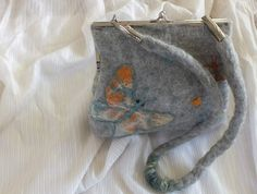 Felted Bag Sholder Felted Purse Felted Natural Gray Wool Butterflies by FeltSoapGood ♡