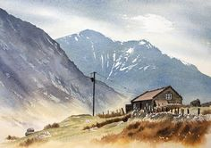 Landscape Watercolour paintings by Chris Hull of Snowdonia, North Wales, and the Lake District Landscape Drawings, Landscape Illustration, Watercolor Illustration, Landscape Art, Landscape Paintings, Watercolor Painting Techniques, Watercolor Artists, Oil Painting Abstract, Watercolor Paintings