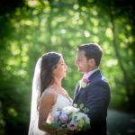 Kendra and Demetri in the woods at the Mountain Top Inn. Mountain Top Inn wedding photographers.