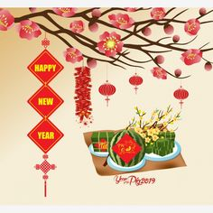 "Chinese new year background blooming sakura branches, Vietnamese new year. (Translation ""Tết"" : Lunar new year) - Buy this stock vector and explore similar vectors at Adobe Stock Chinese New Year Background, New Years Background, Chinese New Year 2020, Happy Chinese New Year, Cherry Blossom Background, Paper Banners, Year Of The Rat, Sakura, Clip Art"