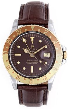Vintage Rolex GMT-Master Root Beer Stainless Steel Men's Watch 1675