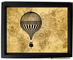 Around the World, A Balloon Ride - Steampunk Hot Air Balloon -5x7 Art Print via etsy seller numberninedream