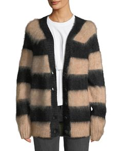 Striped Oversized Mohair Cardigan Knitwear Sale bf82b3172