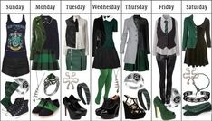 "tassienerdcloset: ""Slytherin Wardrobe by ashlynknight featuring black skinny jeans Skater dress, 105 AUD / Shirts top, 40 AUD / Uniqlo holiday top, 30 AUD / Chanel white blouse, 720 AUD / Miu Miu long. Harry Potter Mode, Slytherin Harry Potter, Harry Potter Cosplay, Harry Potter Style, Harry Potter Outfits, Slytherin Pride, Slytherin House, Hogwarts Houses, Fandom Fashion"