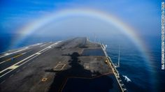 Navy photographer Ignacio Perez likes to shoot landscapes but never dreamed he'd shoot an amazing one on the deck of an aircraft carrier.