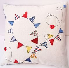 Bunting Cushion. So playful! (I guess bunting and owls are the new trend these days?)