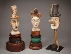 """Stephanie Brockway Hand Carved found wood objects """"Villains, Harpies & Sailors"""" Paperclay, Hand Carved, Carved Wood, Sculpture Art, Art Dolls, Folk Art, Art Pieces, My Arts, Carving"""