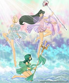 The 3 goddesses by Kymoon.deviantart.com on @deviantART  Sailors Neptune, Uranus, and Pluto