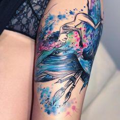 Tetování velryba žena štětce