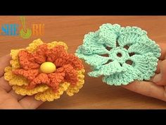 Crochet Two-Layered Flower Free Pattern Tutorial 80 Crochet 3D Flowers  lots more here