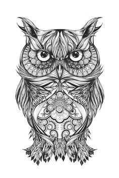 Gregor the owl' by greg coulton zentangle uilen - tattoos, t Tribal Owl Tattoos, Leg Tattoos, Tattoo Thigh, Maori Tattoos, Abstract Tattoos, Circle Tattoos, Marquesan Tattoos, Fish Tattoos, Tatoos