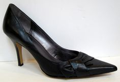 Nine West 'Booboo' Black Leather Pump Size 11M #NineWest #Stilettos