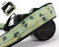 dSLR Pocket Camera Strap, Chinese, Oriental, Green, Gold, SLR. $35.00, via Etsy.
