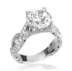 Tacori - The Royal T Collection Platinum 0.87ctw Diamond Round Setting (Available at Michael C. Fina)