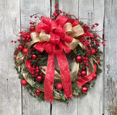 Christmas Wreath Holiday Wreath Ready to Ship by KathysWreathShop