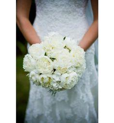 White Hydrangea, white Peonies and greens ~Classic!