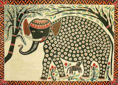 Madhubani Paintings is one of the oldest art forms from Mithila region of Bihar. It is also known as Mithila Painting. Explore the unique collection of Madhubani paintings at Exotic India. Illustrations, Illustration Art, Oriental, Traditional Ink, Elephant Art, Indian Elephant, Madhubani Art, Indian Folk Art, Madhubani Painting