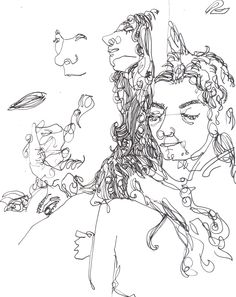 Sketches in life drawing done with 0.1 Fine Liner pen. Nina Meahan, 2014