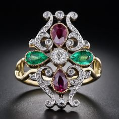 Antique Ruby, Emerald and Diamond Ring