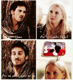 Once Upon a Time. Probably what I would have been thinking if I met Capt. Hook. This makes me laugh.