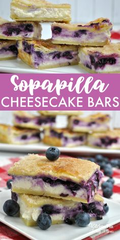 These Sopapilla Blueberry Cheesecake Bars are delicious. I love the flaky layers of puff pastry with the sweet cheesecake flavor and tart blueberries. Sopapilla Cheesecake Bars, Blueberry Cheesecake Bars, Blueberry Desserts, Cheesecake Recipes, Dessert Recipes, Frozen Blueberry Recipes, Dessert Bars, Sopapilla Recipe, Blueberry Bars