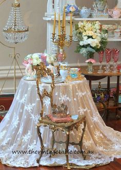 Cinderella High Tea Party - our tea for two table at The Vintage Bride fair to celebrate the new Disney film.