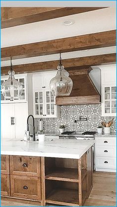Mixture of white and wood - rustic kitchen island design .- Mischung aus Weiß und Holz – rustikale Kücheninsel Design – inter… Mixture of white and wood – rustic kitchen island design – interior design ideas, - Farmhouse Kitchen Island, Modern Farmhouse Kitchens, Cool Kitchens, Kitchen Islands, Farmhouse Decor, Small Kitchens, Farmhouse Interior, Remodeled Kitchens, Renovated Kitchen