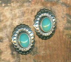 Southwest Silver Concho Earrings Turquoise Western Sterling | eBay