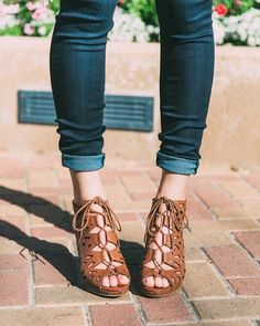 Melon Cutout Lace Up Wedges  francescas - Just got these shoes!! Cute Heels eab939803bb4