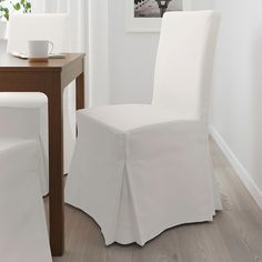 Dinning Room Chair Covers, Slip Covered Dining Chairs, Linen Dining Chairs, Dining Chair Slipcovers, Upholstered Chairs, Desk Chairs, Dining Rooms, Henriksdal Chair Cover, White Chair Covers
