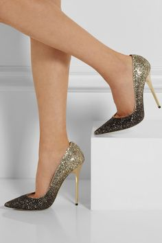 **Dream Shoes** Jimmy Choo's pointed pumps have been crafted in Italy from dazzling glitter-finished leather with an exquisite dégradé effect. Let them take center stage against an all-black outfit.