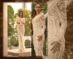 hand beaded pearl & cristal Melany Rowe couture gown featured in Runway magazine  for sale on ebay in search type Melany Rowe