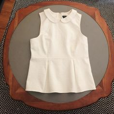 Jcrew factory white peplum with collar Super chic and adorable from Jcrew factory. Lightly worn. Thicker material, with tailored shape. J.Crew Factory Tops Blouses